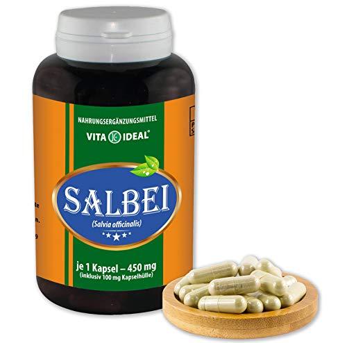 VITAIDEAL ® Salbei (Salvia officinalis) 360 Kapseln je 450mg, aus rein natürlichen Kräutern, ohne Zusatzstoffe von NEZ-Diskounter