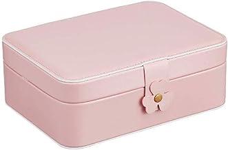 GPWDSN Sieradendoos Organizer, 2-laags PU lederen sieraden opbergkoffer met slot voor meisjes vrouwen (roze)