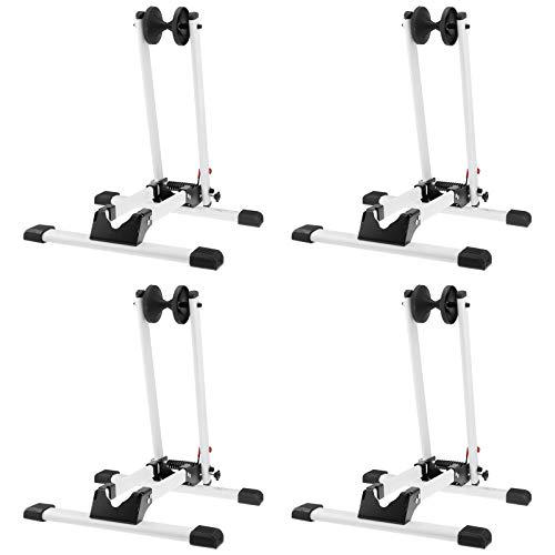 4x WELLGRO® Fahrradständer - für Vorderrad oder Hinterrad, Stahl, weiß, platzsparend zusammenklappbar