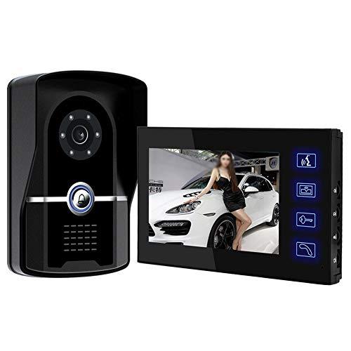 LYC & LJM 7-inch video-deurintercomsysteem deurbel video-intercom kit scherm radiation free camera veldmonitor 1-camera 1-monitor nachtzicht 16 soorten belletjes [energieklasse A]