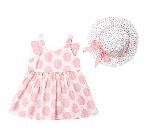 Changchang Baby Mädchen Baumwolle Outfit Set Prinzessin Ärmel Rüschen Sommerkleid Polka Dot Kleid + Sonnenhut für 6 Monate bis 3 Jahre Gr. 86, rose