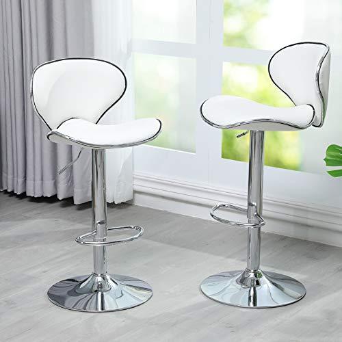 DICTAC Weiß Barhocker 2er Set Leder Barhocker höhenverstellbare Barstühle mit Lehnen Barhocker für küche 360° Drehstuhl Fußstütze, verchromter Stahl