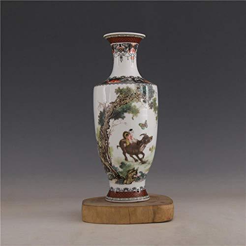Ethan Jingdezhen Antieke Handwerken de Republiek China Ju Ren Tang Jaar Mark Pastel Koeien Bloemen Vlinders Vaas Antiek