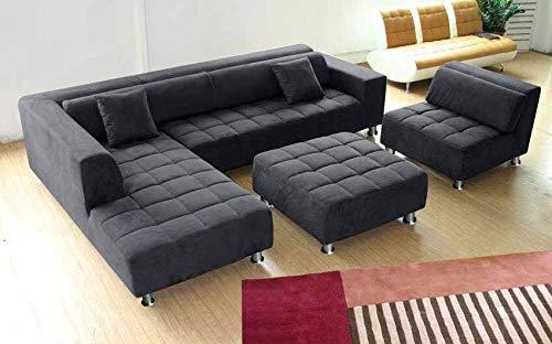 Stendmar 4pc Modern Dark Grey Microfiber Sectional Sofa Chaise Chair Ottoman S1107LDG