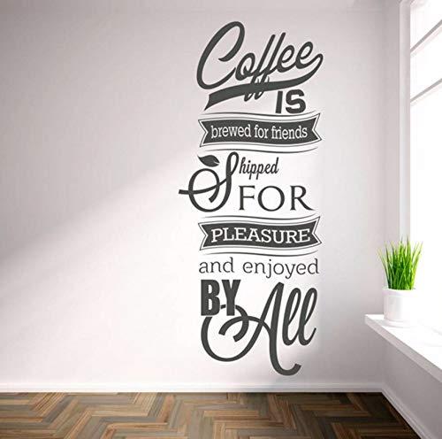 Dalxsh Wandtattoo 'Kaffee Für Freunde Gebraut .' Inspirierende Zitat Wandkunst Aufkleber Wohnzimmer 19X60Cm