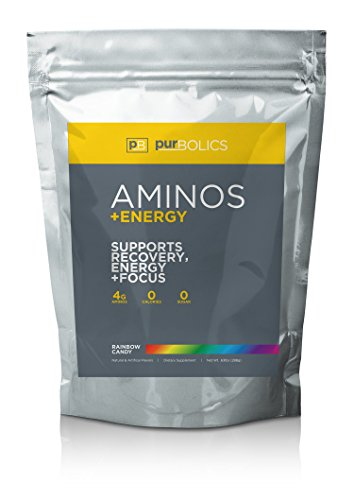 Purbolics Aminos + Energy | Supports Recovery, Energy & Focus | 95mg of Caffeine, 0 Calories & 60 Servings (Rainbow Candy)
