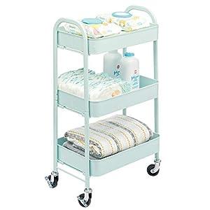 mDesign Carrito auxiliar de metal – Carro de cocina móvil con 3 niveles para almacenaje adicional – Carro verdulero, también práctico en la habitación infantil o el baño – verde menta