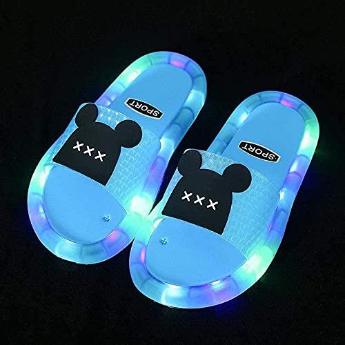 Chanclas Mujer Verano 2019,Powarm Children Sole Soft Shoes Sandalias Y Zapatillas para NiñOs Led Led Oso De Dibujos Animados con Brillantes Zapatillas Antideslizantes Leer-Azul_34-35 Yardas