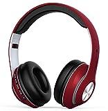 Casque Bluetooth sans Fil, Casque Audio Over-Ear avec Réduction de Bruit intégrée Microphone Mains Libres, Écouteurs Stéréo Hi-FI Basse Compatible avec PC, Smartphones, TV-Rouge