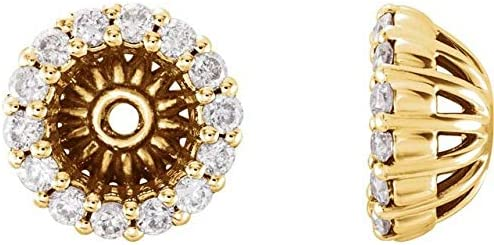 14K Yellow Gold 1/6 CTW Diamond Earring Jackets with 4.6 mm ID Halo-Style Earring Jackets