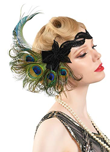 Zivyes 1920s Accessories Peacock Feather Headband Women's Costume Headwear Hat Accessories Flapper Wedding Headpiece (1-Peacock and Black)