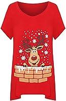 WearAll Women's Plus Short Sleeve Reindeer Snowflake Hanky Hem Long Top Ladies T-Shirt 14-28