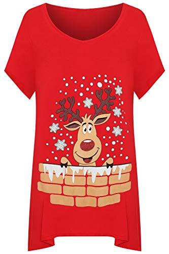 WearAll - Damen Übergröße Kurz Hülle Rentier Schneeflocke Taschentuch Saum Lang Top Damen T-Shirt - Rot - 50-52