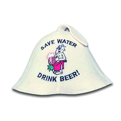 Natural Textile Saunahut 'Drink Beer' White - 100% organische Wollfilzmützen - Schützen Sie Ihren Kopf vor Hitze - Englische Sauna E-Book Handbuch inklusiv - mit Stickerei