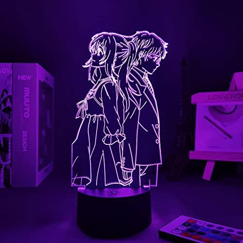 Figura de Anime Night Light Your Lie In April Manga Lie In April Decoración linda de la habitación Decoración del hogar Regalo para la novia Panel de luces LED, 7 colores sin control remoto