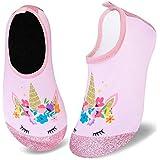 Kids Water Swim Shoes Barefoot Aqua Socks Shoes Quick Dry Non-Slip Baby Boys & Girls (Pink Unicorn, 16/17)