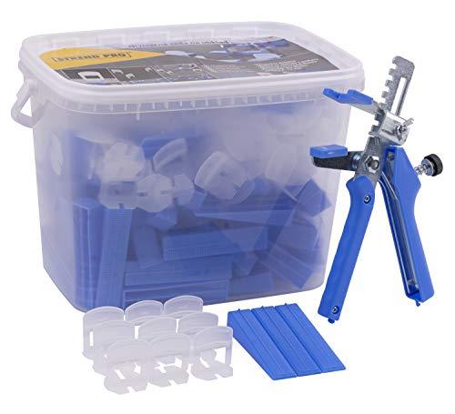 Fliesen Nivelliersystem 1mm | 100 Laschen | 100 Keile | Zange | Nivellierset für einfachen Verlegen von Fliesen | Fliesenleger Werkzeug und verlegehilfe