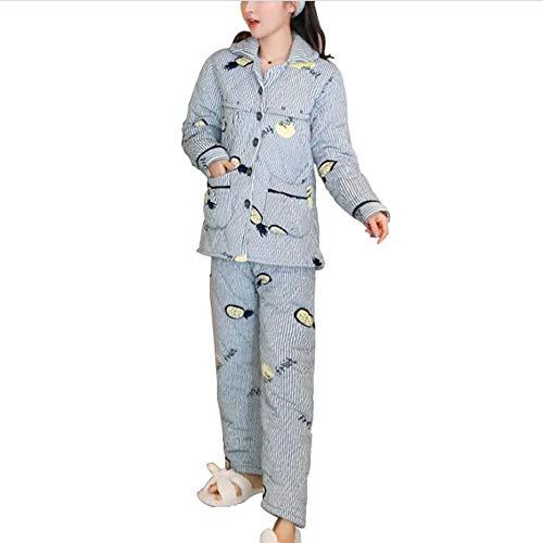 clothing Pyjama Femme Enceinte, Épaississement féminin d'Automne et d'Hiver et vêtements de Nutrition Post-Partum Vêtements de Maison Combinaison d'allaitement Pyjama de Grossesse