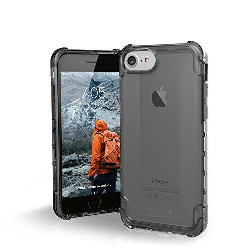 Urban Armor Gear Plyo Hülle für das Apple iPhone 8 / 7 / 6S Handyhülle nach US-Militärstandard (Qi kompatibel, Verstärkte Ecken, Vergrößerte Tasten) - dunkel (transparent)
