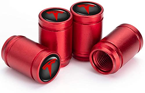 4 Piezas Neumáticos Tapas Válvulas para Tesla Roadster Model S/Model X/Model 3/SUV, Antipolvo Tapones de Coche Decoración Accesorios