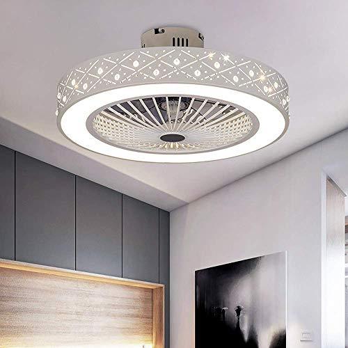 Ventilador de techo con iluminación, ventilador de techo con luz LED, velocidad del viento ajustable, regulable con control remoto, lámparas de techo de 80 W para dormitorio, sala de estar, comedor [C