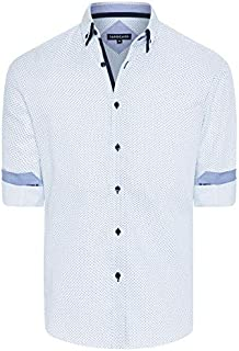 Tarocash Men's Elton Textured Geo Print Shirt Regular Fit Long Sleeve Sizes XS-5XL for Going Out Smart Occasionwear