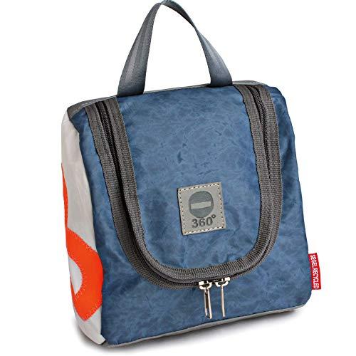 360° Grad Kulturbeutel, Kulturtasche aus Segeltuch, Matrose XL weiss und vintage blau, wasserabweisend, maritim