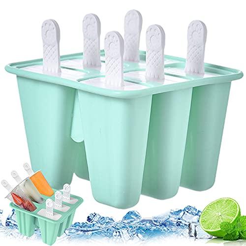 Moldes Para Helado, BKJJ Moldes Helados Silicona Reutilizable Moldes Silicona Ice Lolly Moulds Kit De Molde Para Helados Moldes De Paleta De Paletas Con Palos (verde)