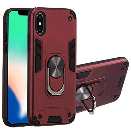 Huid compatibel met iPhone Xs Max Cover met 360 ° Magnetische Ring Stand, TPU Silicone & PC Bumper Drop bescherming, Anti-Scratch, Dubbele Bescherming Versterkte Shell Hybrid Case voor iPhone Xs Max 6.5
