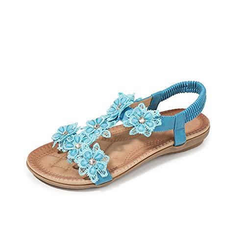 Sandalias Mujer Verano,Azul T-Shaped Flor Rhinestones Señoras Sandalias Bohemia Luz Romano Slip En Calzados Femeninos Para El Tobillo Exterior Casual Antideslizante Caminatas Por La Playa Damas De Ve
