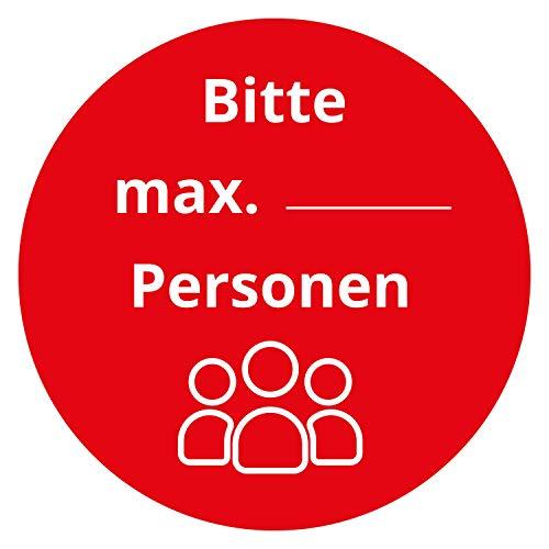 P078 | 2 Stück Hinweis-Aufkleber - Bitte Hände desinfizieren - Kontaktlos bezahlen - Zutritt nur mit Mundnasenschutz - Sperrstunde beachten (9 cm, V5 Max. Personen)