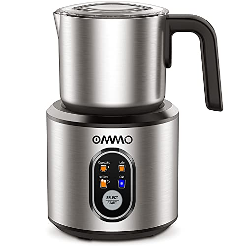 Milk Frother, OMMO Detachable Milk Frother and Steamer with Hot & Cold Foam, Stainless Steel Milk Steamer, Electric Milk Frother for Coffee, Latte, Cappuccino, Hot Chocolate, Warm Milk, 120V