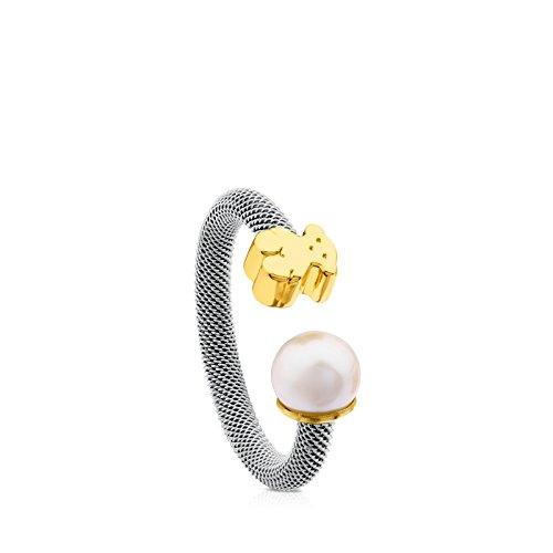 Anillo TOUS Icon Mesh de acero y oro amarillo de 18kt con perla de 0,65-0,7 cm