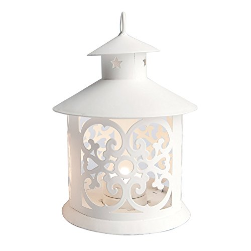 Excelsa Lanterna Pagoda, Metallo, Bianco, 12 X 19 Cm