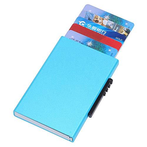 QUWN-Small Draagbare Pop-Up Credit Card Houder RFID Blokkeren Aluminium Automatische Minimalistische Slim Metalen Portemonnee