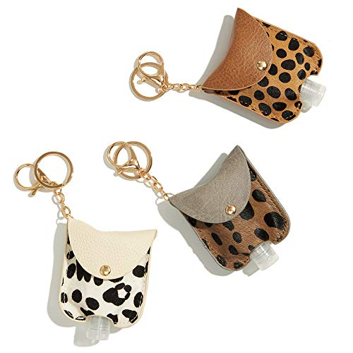 GussyUp [3 Pc/Set] Hand Sanitizer Holder Keychain, Leak-Proof Travel Size Portable Squeeze Bottle, Premium Leather Holder, Backpacks, purses, diaper bags, bags (Leopard Print 1 (Genuine Leather)