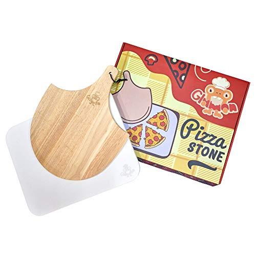 Glumon Pizza Stone - Juego de Piedra para Pizza con Pala de Madera - para Horno y Parrilla