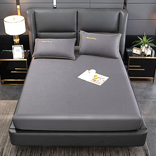 BOLO Sateen Collection | Bed Sheet Set – 100 % algodón, suave y luminoso Sheen, Wrinkle-Resistant Bedding, Queen, Cuarteto (gris, 120 x 200 cm)