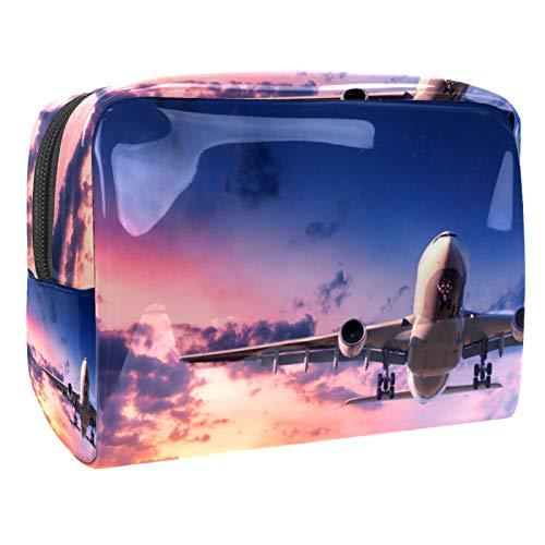 Airplane Sky (18,5 x 7,6 x 13 cm), bolsa de maquillaje de viaje, bolsa de embrague/bolsa de cosméticos/bolsa de maquillaje organizadora de herramientas