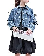YY-Natuhi 子供服 女の子 ワンピース ドレス 長袖 黒 デニムジャケット セットアップ リボン コート フォーマル ガールズ キッズ おしゃれ 秋冬 入学式 結婚式 発表会 普段着