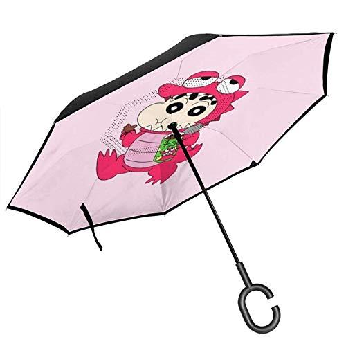 guatan Reverse Inverted Umbrella, doppelschichtiger winddichter Dinosaurier-Wachsmalstift Shinchan Inside Out Faltbarer Regenschirm mit C-förmigem Griff