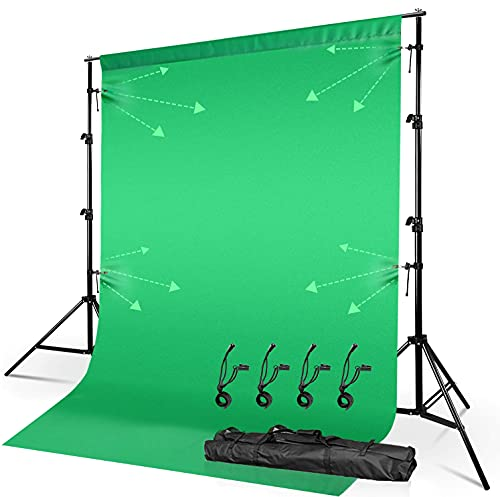 Julius Studio 10 ft. Wide Length Adjustable Photography Backdrop Stand with Green Chromakey Background with Elastic String Clip Holder, Ideal for Photo Video Shoot, SNS Streaming, JSAG577