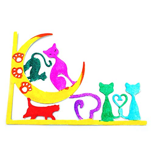 Wiffe Cartoon en Acier Carbone pour Chat Motif Lune Étoile Gaufrage Modèle de Pochoir Papier DIY Artisanat Scrapbook Livre Carte Décoration Cadeau Saint Valentin