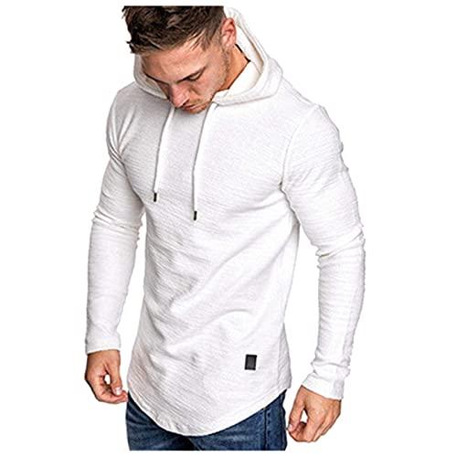 Men's Long Sleeve T-Shirt Hooded Summer Plain Mixed Leather Irregular Hem Blouse Pullover - White - M