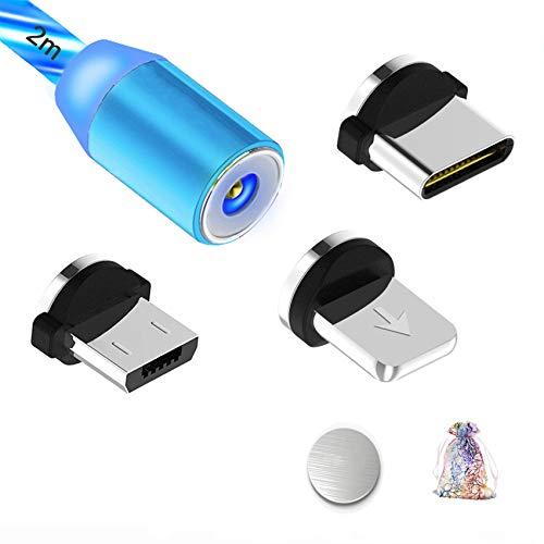 Kyerivs Magnetisches Ladekabel mit Sichtbar fliesendem LED Licht Micro USB Ladekabel Typ C Lighting 3 in 1 Kabel kompatibel fur Phone No Sync Data2m66ft Blau