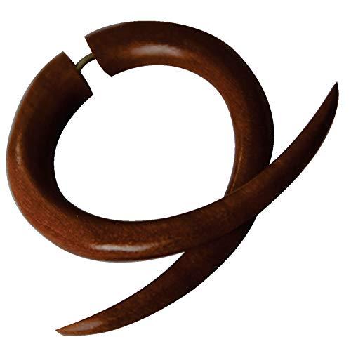 CHICNET Piercing falso dilatador para hombre y mujer, diseño de caracol en espiral, doble garra de madera de palisandro en color marrón rojizo con cierre de acero inoxidable