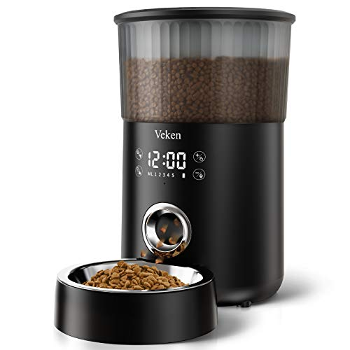 Veken Automatic Cat Feeder, 135oz/4L Dog Feeder Pet Food Dispenser with Programmable Timer, Portion Control 1-5 Meals Per Day, Dual Power Supply & Voice Recorder for Small to Medium Cats Dogs (Black)