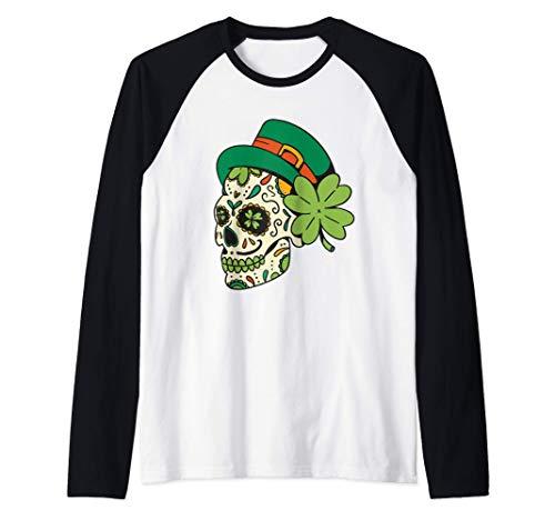 San patricio calavera de azcar gracioso da de san patricio Camiseta Manga Raglan