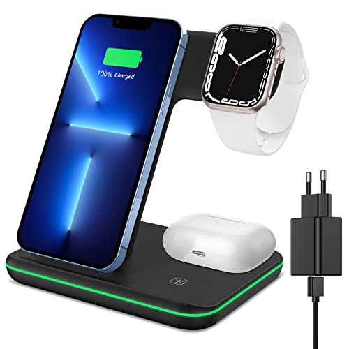 XIMU Kabelloses Ladegerät, 3 in 1 Wireless Charger Qi-Zertifiziert Schnell Ladestation mit Adapter Kompatibel mit iPhone 13 Pro/13/12/12 Pro/12 Pro Max/11/Apple Watch 7/6/SE/5/AirPods Pro/Galaxy S21