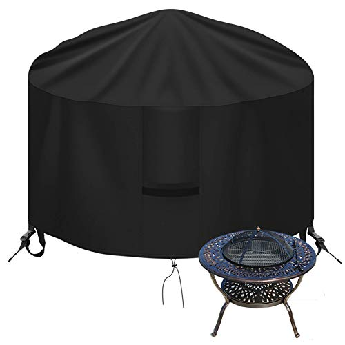 OKPOW Fire Pit Cover Round 32 inch, 600D Heavy Duty Outdoor Firepit Covers Waterproof Windproof Anti-UV,Suitable for 30 inch,31 inch,32 inch Fire Pit/Table, Black